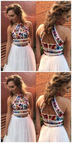 High Neck Two Piece Floral Embroidery White Long Prom Dress,Prom Dresses,Evening dress, Shop plus-sized prom dresses for curvy figures and plus-size party dresses. Ball gowns for prom in plus sizes and short plus-sized prom dresses for Prom Dresses Two Piece, Formal Dresses For Women, Trendy Dresses, Homecoming Dresses, Cute Dresses, Dress Prom, Prom Gowns, Maxi Dresses, Long Dresses