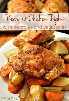 The skin on this roasted chicken thighs recipe is so crispy! The chicken thighs are roasted on top of a layer of potatoes, carrots, celery, onions and garlic cloves. This method is what crisps up the skin so nicely. The smell coming from the oven was delicious! Roasted Chicken Thighs with Potatoes and Vegetables Print Prep time …