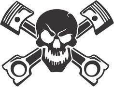 JDM Skull with Pistons Japanese Drift Racing - Die Cut Vinyl Sticker Decal Racing Stickers, Car Stickers, Car Decals, Vinyl Decals, Logo Harley Davidson, Van Wall, Skull Fashion, Skull Face, Window Decals