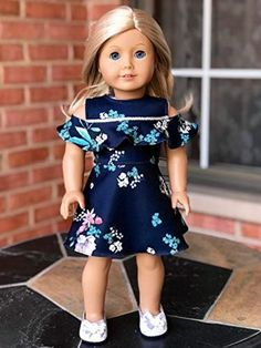 Romantic Moment - Dark Blue Dress - Clothes Fits 18 Inch American Girl Doll (Doll Not Included) - - Dark blue dress with flower pattern. American Girl Doll Costumes, American Girl Doll Room, Custom American Girl Dolls, American Girl Doll Pictures, American Doll Clothes, Ag Doll Clothes, Dress Clothes, Doll Dresses, American Girl Doll Pajamas