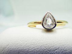 Pear Shaped Diamond Engagement Ring 14k by TheEyeofTheMoonJewel, $1100.00