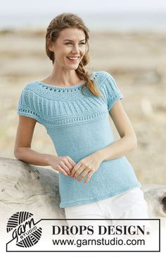 "Knitted DROPS top with round yoke,in stockinette st, garter st with lace pattern, worked top down in ""Paris"". Size: S - XXXL. Knitting Patterns Free, Free Knitting, Free Pattern, Drops Design, Top Down, Magazine Drops, Knitting For Charity, Point Mousse, Knit Shorts"