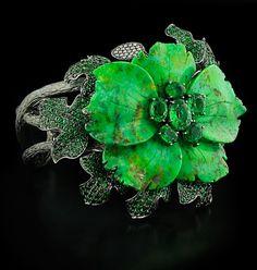 Lydia Courteille Garnet Diamond & Turquiose Flower Cuff