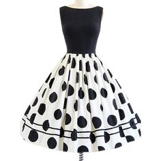 Dressray Women's Rockabilly 50s Vintage Polka Dots Cocktail Dress ($28) ❤ liked on Polyvore featuring dresses, spotted dress, dot dress, polka dot dress, vintage polka dot dress and white dress