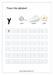 Alphabet Tracing Worksheet - Alphabet Tracing Sheets - Small Letter y Small Alphabet Letters, Alphabet Writing Practice, Alphabet Book, Preschool Phonics, Preschool Writing, Alphabet Tracing Worksheets, Tracing Letters, Prewriting Skills, Tracing Sheets