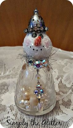 "Snowman Assemblage, Vintage Salt Shaker Snowman ""Daphne"", Glass Shaker, Glitter Snowman Decoration, Christmas Collectible, Original by SimplyTheGlitter on Etsy"