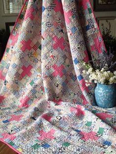 "Pretty Pink + Feedsacks! VINTAGE 30s Cottage Home QUILT 66"" x 65"" | Antiques, Linens & Textiles (Pre-1930), Quilts | eBay!"