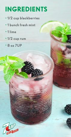 When it comes to summer cocktails, this Blackberry Mojito is practically ready for the porch swing or outdoor party! Fresh mint, blackberries, lime, rum, and 7UP®️️ all help make this boozy beverage as refreshing as it is. Make a large batch of this fruity recipe so all your friends can enjoy this fizzy drink—and since you can pick up all the ingredients you need at Walmart, that just got a lot easier.