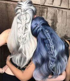 pewter and serenity perfection #colouredhair #longhair #braids