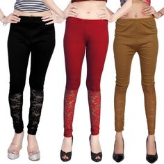 Comix Women's Black, Maroon, Beige, Brown Leggings??(Pack Of 3)