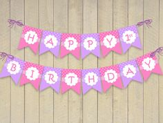 Happy Birthday Banner Bunting - Download and Print Flags Purple Lavender Pink Hello Kitty Sofia the First Princess