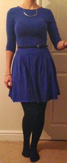Thursday's OOTD Dress - Dorothy Perkins Tights - Primark Belt - New Look Necklace - H&M I should have t. Hello Hello, Primark, Random Things, New Look, Outfit Of The Day, Skater Skirt, Tights, Nail Art, Posts