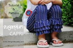 Free Pattern: Sugarplum Ruffled Capri Leggings for girls.
