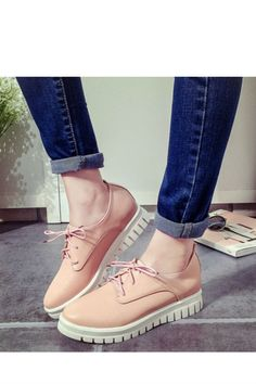 Pastel Pink Lace Up Casual Creepers