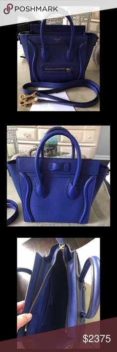 "CELINE CALFSKIN LEATHER NANO LUGGAGE BAG BLUE CELINE NANO CALFSKIN LEATHER LUGGAGE SHOULDER TOTE BAG IN BLUE   In like new condition, comes with dustbag.  Measurements: L: 8 x H: 7.75 x D: 4 Strap drop is adjustable. (About 22"") Beautiful leather exterior and suede interior. Celine Bags Crossbody Bags"