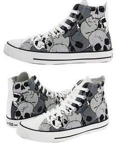Converse black & white skull pattern hi-tops