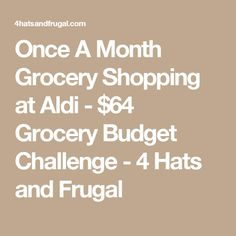 Once A Month Grocery Shopping at Aldi - $64 Grocery Budget Challenge - 4 Hats and Frugal