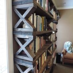 Check out this project on RYOBI Nation - My son-in-law wanted bookshelves for his office and asked if I could build them for him. He wanted them to appear rustic and masculine. He is the director of children's home and we needed to build them as economically as we could. We adapted the design from a picture he found in a magazine and used lumber left over from a construction project. It became something of a family project with a grandson helping make the shelf assemblies, my wife's hel...