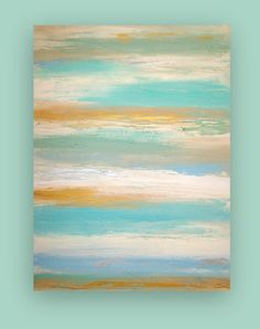 Original Aqua and Taupe Beach Painting Shabby by OraBirenbaumArt, $365.00