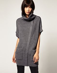 Enlarge Selected Oversized Zip through Chunky Knit