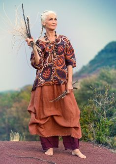 Linen skirt – West – sunset in the Kalahari – GUDRUN SJÖDÉN – Webshop, mail order and boutiques | Colourful clothes and home textiles in natural materials.