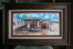 """I painted this in watercolor from a photo I took in Taos, NM. It is 20"""" x 32"""" overall. $200."""