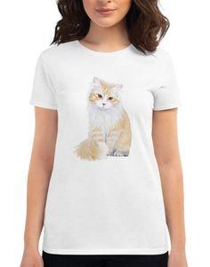 Red Cat Women's short sleeve t-shirt base trend Anvil Tshirt 880 Women's Shirt Funny Womens Tee Gift For Her kitten animal, print tshirt Fabric Structure, Red Cat, Gifts For Her, Kitten, Base, T Shirts For Women, Trending Outfits, Sleeve, Womens Fashion