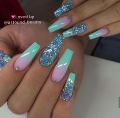 Purple Nail Polish Color Changing to Pink Nail Polish with Pink Glitter Summer Acrylic Nails, Best Acrylic Nails, Summer Nails, Turquoise Acrylic Nails, Spring Nails, Ombre Nail Designs, Cute Acrylic Nail Designs, Best Nail Designs, Coffin Nail Designs