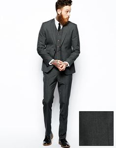Image 1 of ASOS Slim Fit Suit In Grey Dogstooth