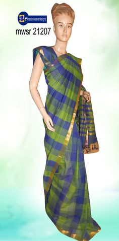 """#Mangalagiri #sarees"" known for it's softness - plain, stripes & checks weaving pattern.Saree displayed here under is in stripes pattern, available in many traditional and fancy #colour combinations. Code: mwsr 21207 Price: 1275/-  ( bulk buyers / wholesale / boutiques / Retail shops for trade  inquiries please contact our whatsapp no 8801302000)"