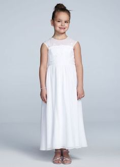 Youthful yet stylish, this full length chiffon dress is perfect for your flower girl! Tank sleeve bodice features stunning beaded lace detail. Chiffon A line skirt is fashionable yet comfortable and fun. Available in White. Sizes 2T-14. Fully lined. Back zip. Imported. Dry clean.