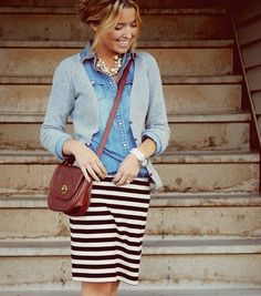 stripes skirt + jeans + cardigan / a great go-to outfit