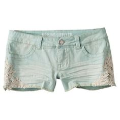 Mossimo Supply Co. Juniors Denim Short - Mint: Cutest shorts ever! Got so many compliments while wearing them. Mint Shorts, Lace Denim Shorts, Cute Shorts, Jean Shorts, Short Shorts, Summer Shorts, Pretty Outfits, Beautiful Outfits, Cute Outfits