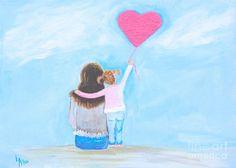"""Mother Daughter Child Painting Mother Little Girl Sister Sibling Toddler Beach Mom """"Pink Heart Balllon"""" Leslie Allen Fine Art Mother Art, Mother And Child, Beach Mom, Toddler Beach, Beach Illustration, I Love Mom, Art Wall Kids, Painting For Kids, Leslie Allen"""
