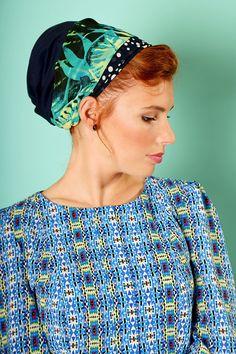 Winter sale - Dark Blue head scarf – Floral headcovering  – Hair snoods by TAMARLANDAU on Etsy