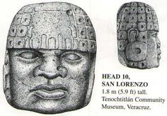 Giant Stone Heads of Mexico - Also from San Lorenz, this unusual Stela-Head. Current location, Jalapa Museum.