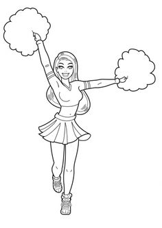 cheerleader bratz coloring pages free printable. Do you like watching basketball matches? When a basketball match will start, or when it breaks, there must be a cheerleader going down to the center o. Dance Coloring Pages, Kids Printable Coloring Pages, Sports Coloring Pages, Barbie Coloring Pages, Coloring Pages For Girls, Coloring Pages To Print, Free Coloring Pages, Coloring For Kids, Coloring Books