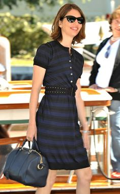 Sofia Coppola in a Louis Vuitton dress and bag