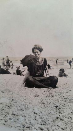 1920s Woman at beach full black swim suit fashion cap snapshot b&w photo A4