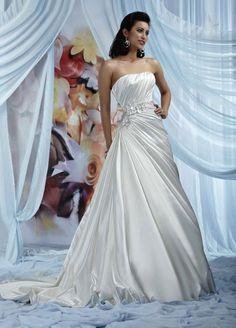 A-line Strapless Pleated Bodice Side Drape Flower Accent Satin Wedding Dress-wa0135, $249.95