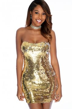 10dd6809a8 Sexy Gold Sequin Strapless Bodycon Party Dress