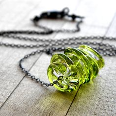 Necklace , Clear and Lime Green Swirled Lampwork Disks Oxidized Sterling Silver - Key Lime Pie. $41.00, via Etsy.