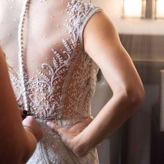 Putting on your wedding dress ➡ ALL the feels. If you love a hand-beaded illusion back gown, you're going to want to tap our link in bio to get a closer look at the incredible details on the #AsterGown! Popular Wedding Dresses, Garden Wedding Dresses, Bridal Wedding Dresses, All The Feels, Put On, Silk Fabric, Dress Collection, Illusions, Feminine