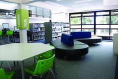 Bisset Adams creates teen space at library   News   Design Week    Blue!  Green!  Love this!