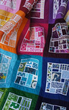 Awesome scrap quilt -- Bottled Rainbows   #quilt #quilting #longarm #machinequilting #tinlizzie18