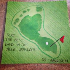 Baby footprint golf artwork for fathers day – Baby Basteln – Vatertag Daycare Crafts, Baby Crafts, Toddler Crafts, Baby Footprint Crafts, Daycare Rooms, Toddler Art, Fathers Day Art, Easy Fathers Day Craft, Baby Fathers Day Gift