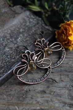 Wire wrap earrings, copper earrings, Citrine earrings by LenaSinelnikArt on Etsy https://www.etsy.com/listing/219127859/wire-wrap-earrings-copper-earrings