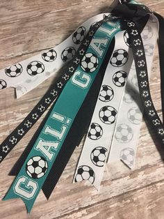Teal Soccer Ribbon, Streamers, Soccer Ponytail, Soccer Team, Teal Jersey, Soccer Jersey, Fast Shipping by TwoLooseLoops on Etsy https://www.etsy.com/listing/524453520/teal-soccer-ribbon-streamers-soccer