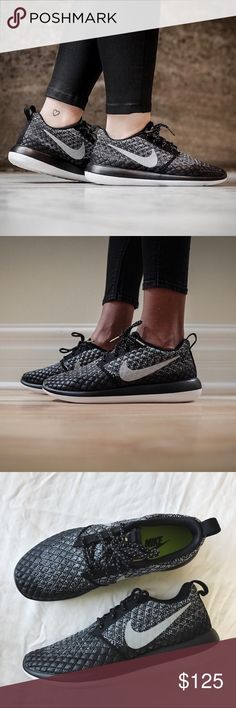 Nike Roshe Two Ombre Flyknit Sneakers •Constructed with a sock-like fit, Nike's black and dark grey ombré micro-diamond Flyknit Roshe Two low-top sneakers are designed with an ultra-lightweight sole. Features a water repellent coating that helps block out the elements.  •Women's size 7.5, best for narrow-normal width foot. Runs a bit tighter than standard Roshe's.  •New in box, no lid.  •NO TRADES/HOLDS/PAYPAL/MERC/VINTED/NONSENSE. Nike Shoes Sneakers
