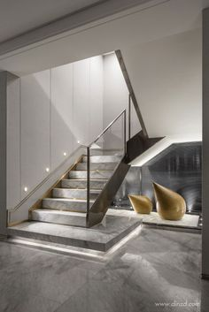 Basement stairs - There is no shortage of stairway design ideas to make your stairway a charming part of your home. From grand staircases and Home Stairs Design, Interior Staircase, Staircase Railings, Stairs Architecture, Railing Design, Dream Home Design, Modern House Design, Interior Architecture, Stair Spindles